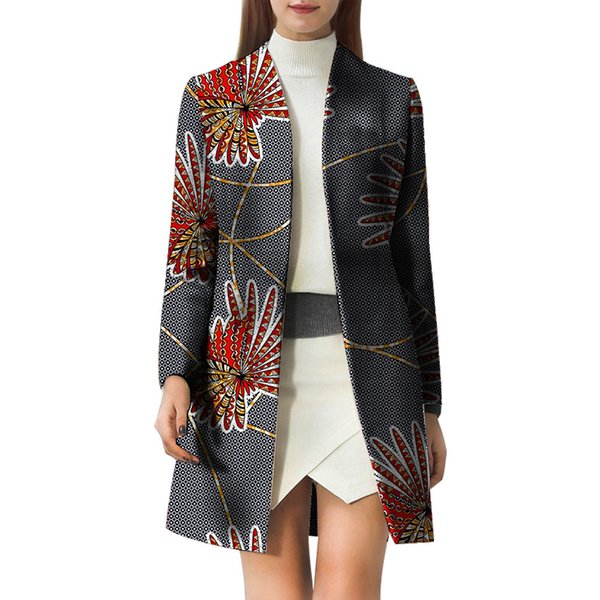 Customized Lady's Wear African Wax V-neck Blazers Female Pattern Print Suit Jacket Tailored OL Outfits Dashiki Clothes