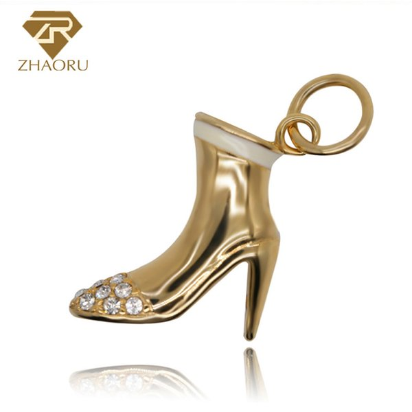 925 Sterling Silver Charm with high-heeled shoe Enamal Charm Fit Pandora Bracelet & Bangle And Necklace P2010