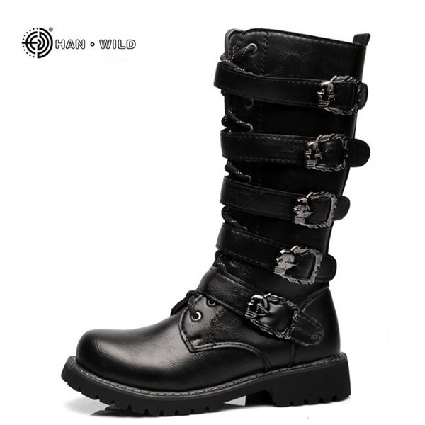 2019 Winter Men Motorcycle Boots 2018 Fashion Mid-Calf Punk Rock Martin Shoes Mens PU Leather Black High top Casual Boot Man Sneakers