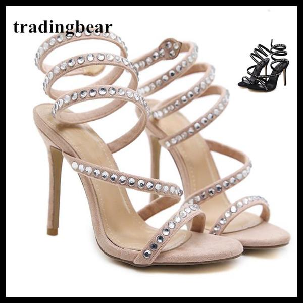 envoltório do tornozelo de strass de luxo sapatos de salto alto mulheres clube baile bege preto camurça do falso tamanho 35 a 40