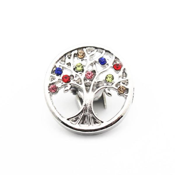 Toptan Yeni Snap Düğmesi Takı Renkli Aile Ağacı Kristal Yapış Charms Fit 18mm DIY Düğme Bilezik Kolye