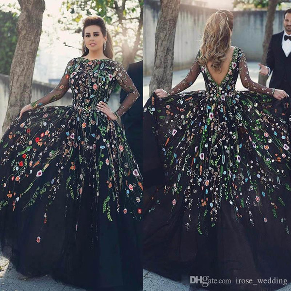 New Floral Embroidery Evening Dresses Jewel Neck Illusion Long Sleeve V Back Long Black Tulle Ball Gown Prom Party Dresses Vestidos De Festa