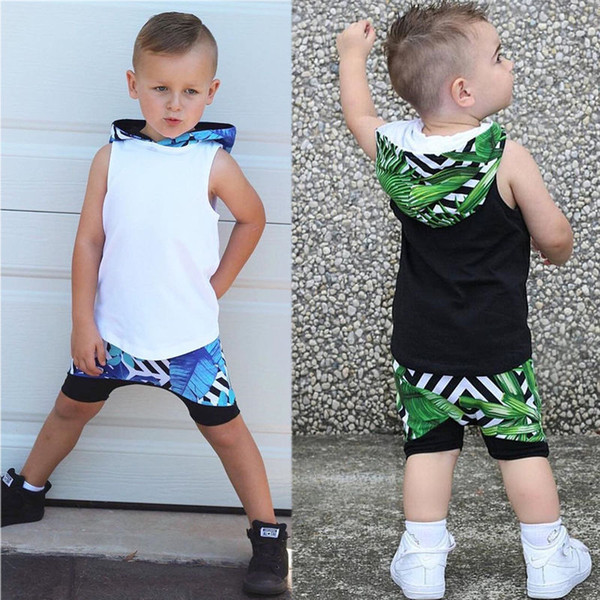 Summer Baby Boy Clothes Sleeveless Hooded Tops +Shorts Pants 2PCS Boys Outfits Set Suits 2018 Kids Clothes for Boys Children Clothing 1-6Y