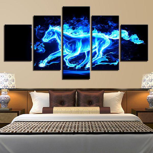 Wand Kunst Leinwand Gemälde Modular Home Decor HD Drucke 5 Stücke Blau Eis Feuer Pferd Bilder Tier Poster Wohnzimmer Rahmen