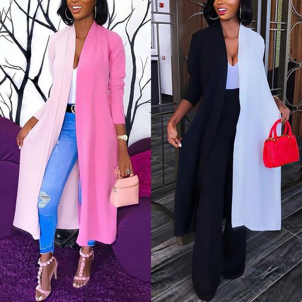 Women Ladies Loose Long Cardigan Shawl Tops Fashion Patchwork Long Sleeves Blouse Coat Jacket Trench