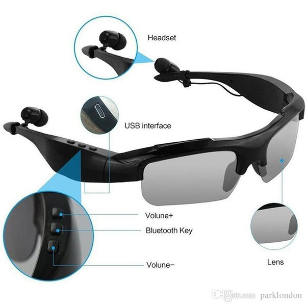 One piece Sunglasses Bluetooth Headset Wireless Sports Headphones Stereo Handsfree Earphones Mp3 Music Player With Package