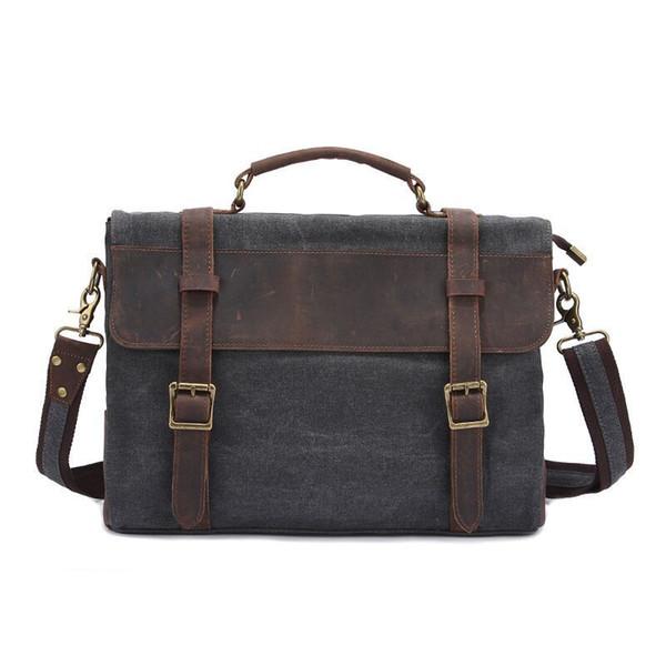 Hot Sell Crazy Horse Leather Canvas Men Bag Vintage Men Shoulder Messenger Bag Fashion Business Casual Large Capacity Briefcase