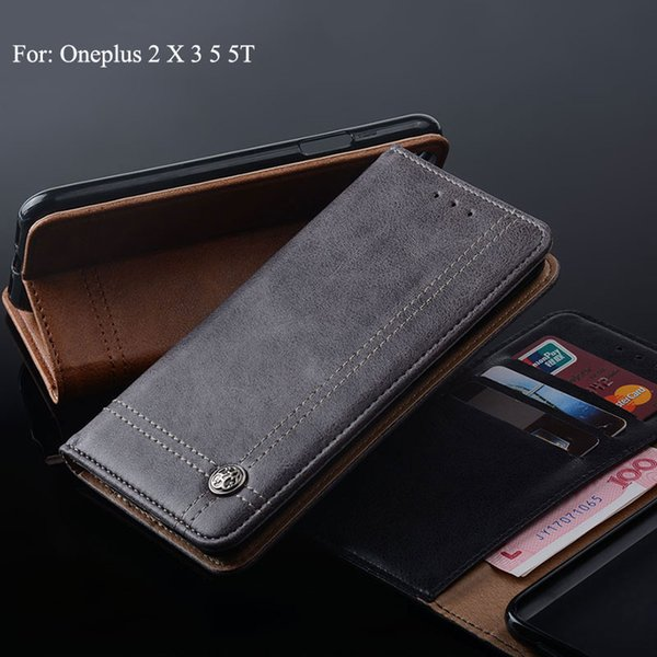 Leather Case For One plus Oneplus 2 X 3 5 5T Luxury Stand Wallet Case with Slot vintage fashion style