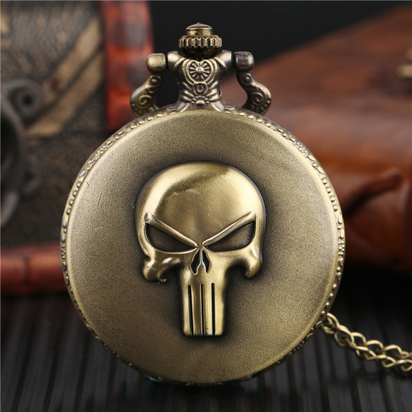 Punk Monster Pocket Watch Solid Skull Copper Sculpture Pendant Necklace Special Halloween Clock Unique Gifts for Boys Girls Teen
