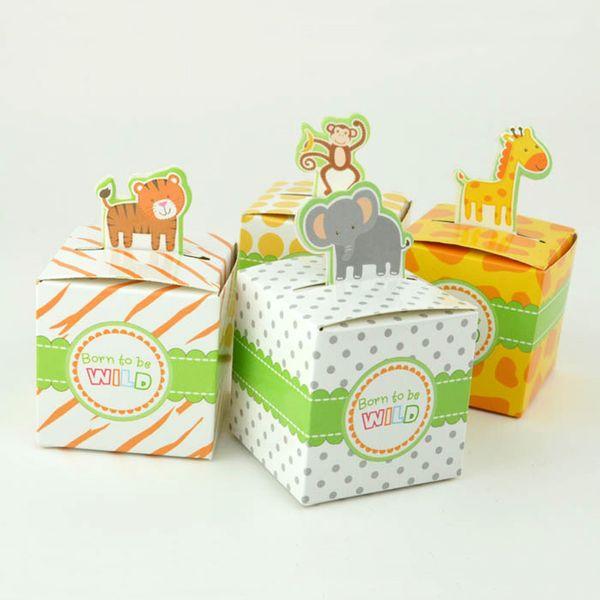 50pcs Gift Boxes Tiger Giraffe Elephant Monkey Animal Kids Party Favor Candy Box Baby Shower Birthday Baby Shower Decoration