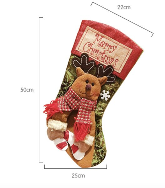 Christmas Stocking Gift Bag Noel Reindeer Santa Claus Snowman Socks Natal Xmas Tree Candy Ornament Gifts Decorations New Year Wholesale BH49