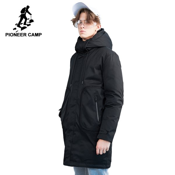 2019 Pioneer Camp New Winter Long Down Jackets Men Brand Clothing Casual Warm Thick Down Parkas Quality Hooded Jacket Coats AYR801437 From Xiatian8,