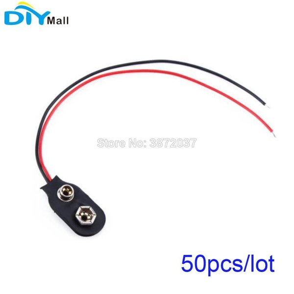 50pcs/lot 9V Battery Holder Buckle Clip Snap Plug Cable Lead for Arduino