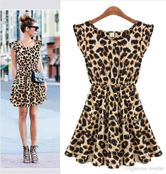 3911c5c3b2 scoop neck print dress Promo Codes - The new explosive nightclub sexy  leopard dress Europe and