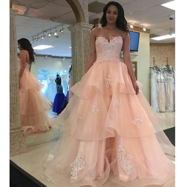 Charming Sweetheart Appliques Prom Dresses Pink Ball Gown Ruffled Organza with Lace Evening Gowns Popular Party Dress Fashion Formal Dress