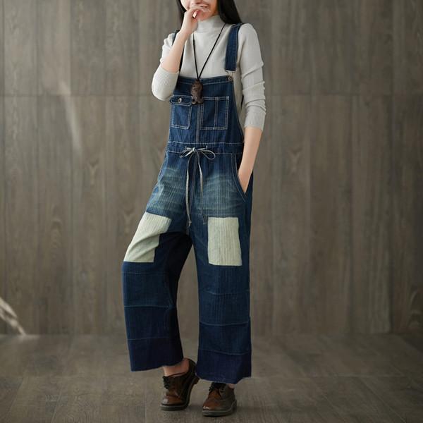 Casual Plus Size Cotton Denim Jumpsuit Overalls for Women Combinaison Femme Wide Leg Pants Trousers Holes High Waist Jeans Woman