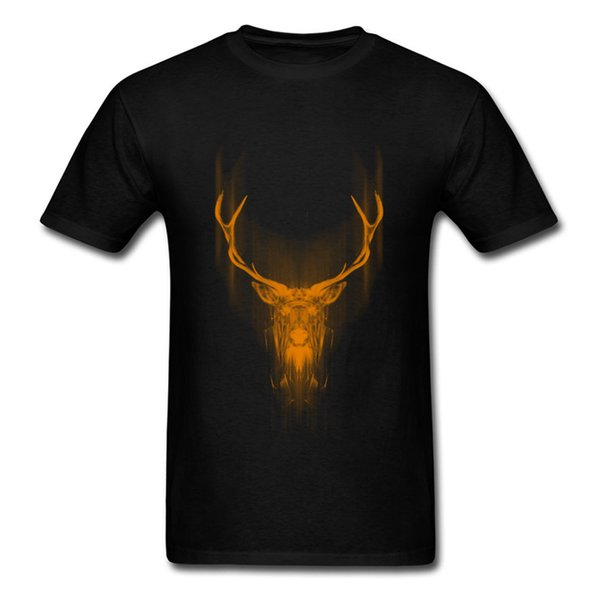 2018 Art Painting Rain Deer Men T-shirt Classic Black T Shirt Abstract Pattern Male Funky Street Tops Plus Size Cotton Tee