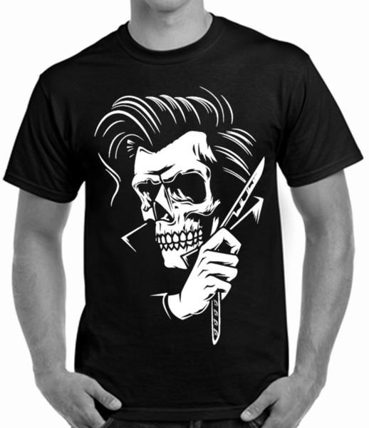 Tatuagem de Rockabilly Hipster Barbeiro Estilo Dos Homens T Camisa Crânio Engraçado de Manga Curta de Algodão T-shirt Novo 2018 Engraçado