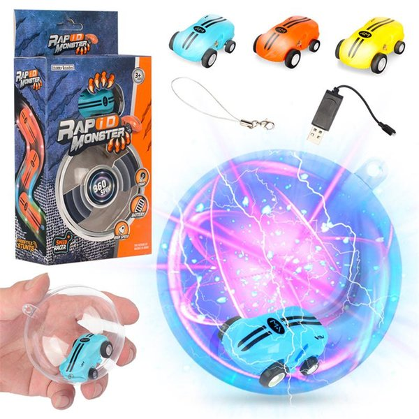 Mini-High-Speed-Laserlicht-Autos Tasche Mini-Spielzeugauto 360 ° -Umdrehungen Lustige coole Lichter USB-Aufladung Kindergeschenk 360 ° -Drehung 2 Gänge