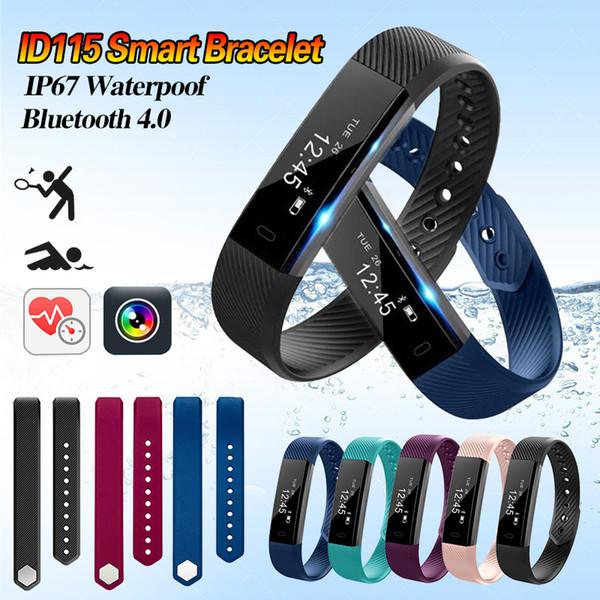 Digital Fitness Bracelet ID115 Pedometer Heart Rate Monitor Smart Wrist Watch Outdoor Sport Walking Calorie Counter 2018 Hot