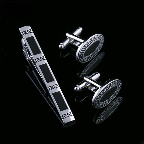 Tie Clip Cufflinks Set Top Quality Tie Pin Cuff links Set Wholesale french Tie Bar Link Set for men groom wedding jewelry