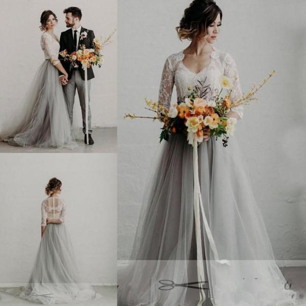 Sommer-Spitze-Tulle-Grau-Strand-Hochzeits-Kleider V-Ansatz-Spitze-halbe Hülsen eine Linie Brautkleider nach Maß
