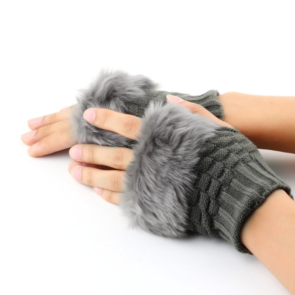 Women Fingerless Gloves Cute Faux Rabbit Fur Knitted Gloves Female Winter Knitting Warmer Wrist Hand Mitten 2018 Hot Sale