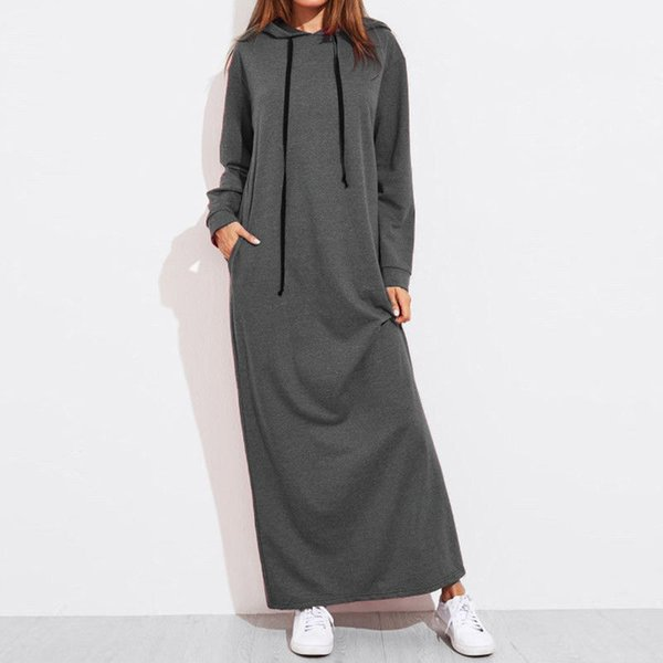 woman M-2XL solid color hooded loose hoodie maxi dress women casual brief long sleeve pocket long gown sweater