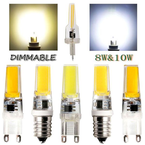 Mini LED Lampada regulable G9 E14 COB 9W LED luces de cristal de silicona Lámparas AC220V candelabro cristal luz caliente / Cool Bulbos blancos
