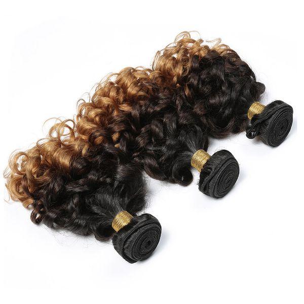 Funmi Hair Cheap Ombre Bouncy Romance Curls Virgin Brazilian Fumi Human Hair Weave Bundles 3pcs Three Tone 1b 4 27 Honey Blonde Hair