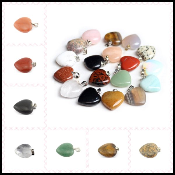 21Designs 20*23mm Necklace Pendant Natural GemstoneHeart Shaped Energy Balance Reiki Healing Chockers Chakra Beads Crystal Jewelry