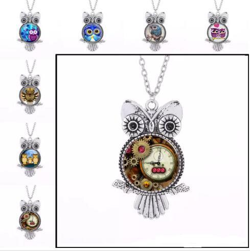 Vintage Silver Punk Owl Frame Time Gem Necklaces Owl Glass Cabochon Necklace Owl Pendants Chain Fashion Jewelry for Women Kids
