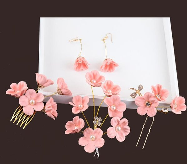 Bridal Jewelry Wedding dress accessories, bridal headwear pink head flower new hair fork hairpin