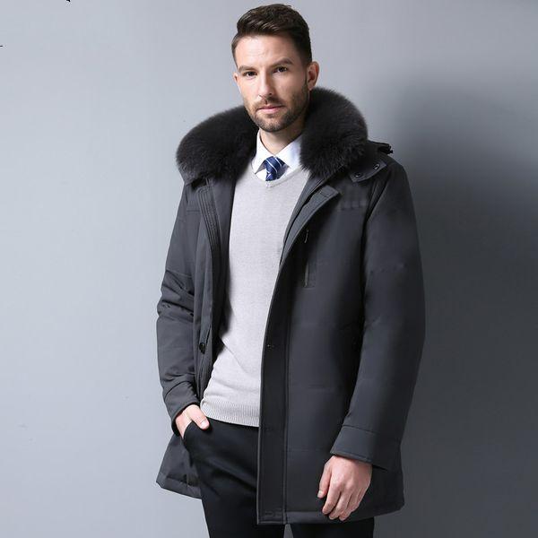 Winter Jacket Men Parkas Duck Down Jacket Men 2018 Business Casual Fur Collor Down Coat Parka Slim Fit Mens Clothing ZT489