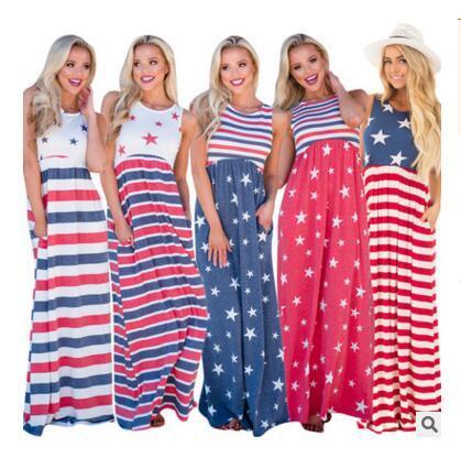 Fourth of July Women Dress Striped Print Maxi Dress Casual Long Dress Beach Summer Clothing 5 Colors DHL Free Shipping