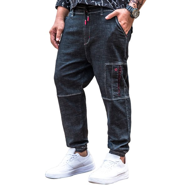 2018 Mens Stretch Multi Pockets Denim Trousers Letter Embroidery Loose Slim Jean Pants Large Big Size 30 32 34 36 38 40 42 44 46