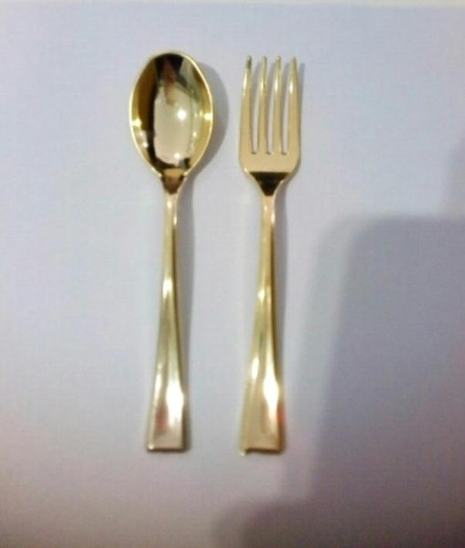 best selling 72pcs Plastic Disposable Gold Spoons And 72pcs Mini Gold Forks Fit For Party Dessert Coffe Cake Event
