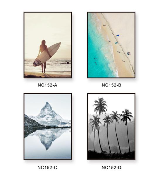 İskandinav Minimalizm Deniz Plaj Figürü Ağacı Manzara Boyama Tuval Baskı Posteri Duvar Resmi Oturma Odası Dekor Için Hiçbir Çerçeve