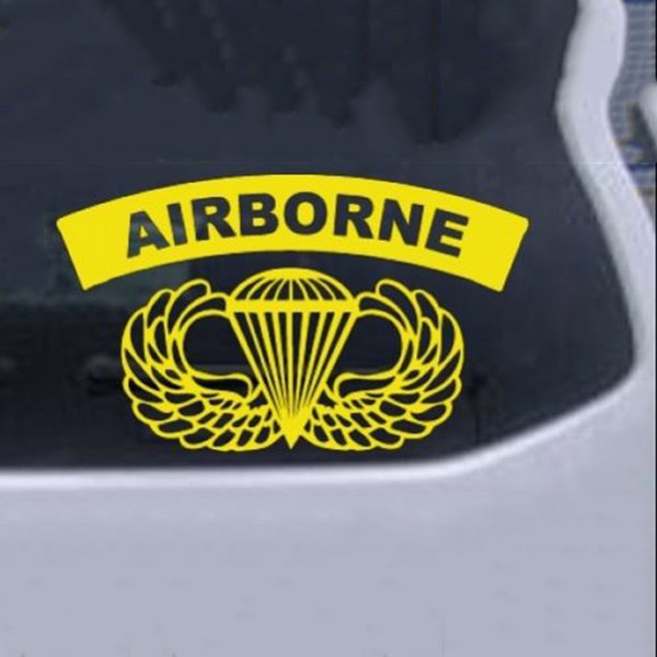 Army AIRBORNE Banner With Wings Car or Truck Window Laptop Decal Sticker