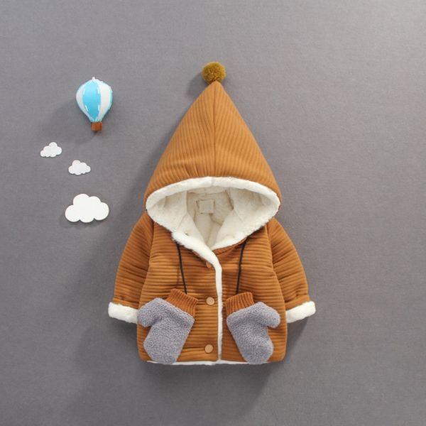 Children Warm Winter Baby Girls Boys Infants Kids Ball Hooded Thicken Velvet Cardigan Jacket Coat Outwear Casaco+Glove S7766