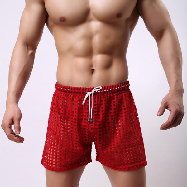 Sexy Big Mesh évider ménage gros gros livraison gratuite hommes transparents voir à travers les filets Homme Shorts