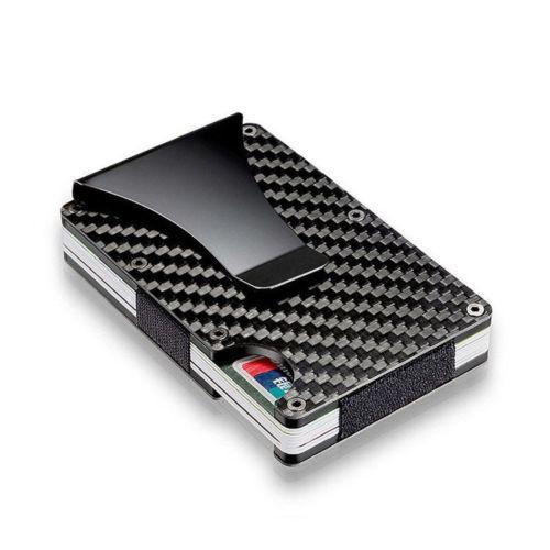 Kreditkarteninhaber RFID Sperrung Metall Geldbörse Kohlefaser Geldscheinklammer