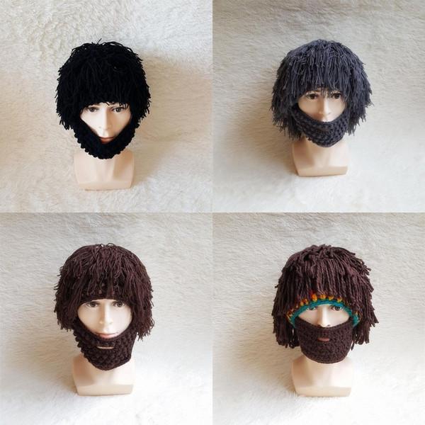 Winter Fashion Wig Beard Hats Cosplay Mad Caveman Warm Wig Knit Cap Men Halloween Gift Funny Party Beard Mask Hat Beanies