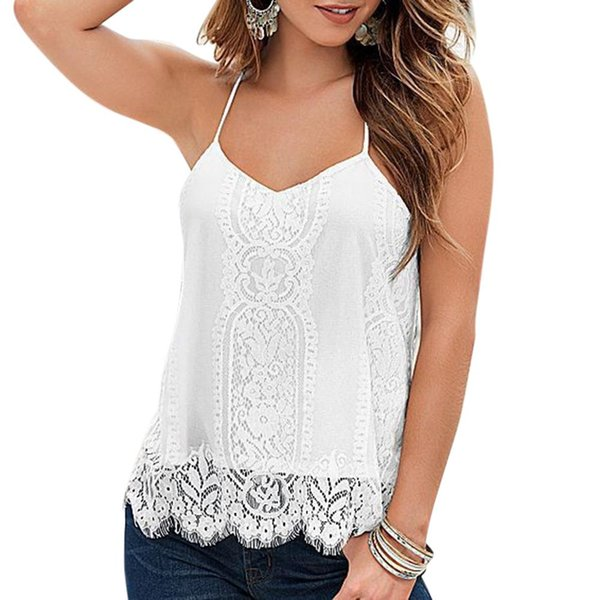 mrwonder Women Fashionable Sexy Solid Color Shoulder Strap Lace Vest All-match Tops