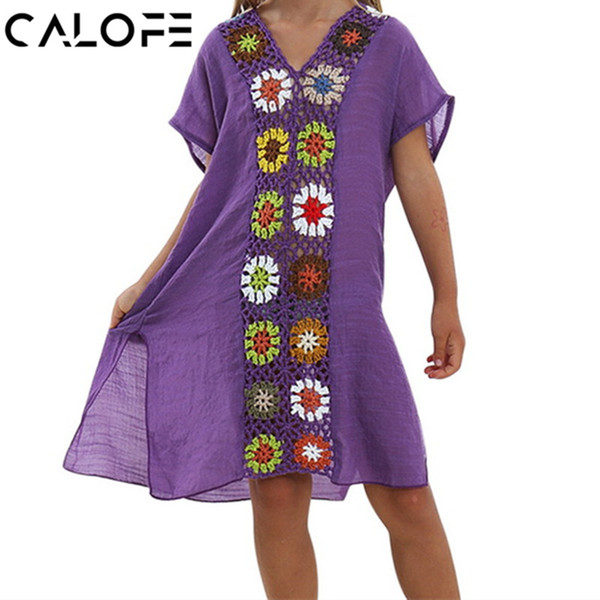 CALOFE Children Dress 2018 Summer Swimwear Crochet Smock Vestidos Fashion Patchwork Split Casual Beachwear Boho Girl Dresses