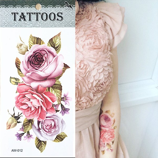 Hot 3d Tattoos One Time Temporary Tattoos Arm Flower Tattoo Waterproof Female Body Art Tattoo Model Temporary Tattoo Printing Paper Temporary Tattoo