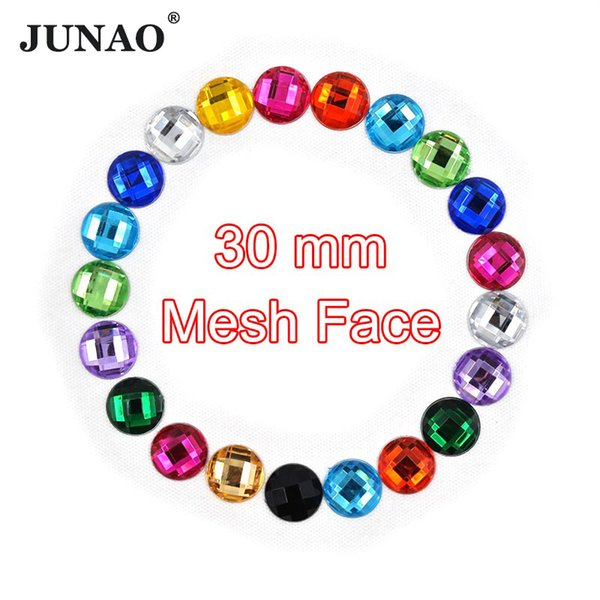 JUNAO 50pcs 30mm Big Size Round Acrylic Rhinestones Flatback Gems Large Strass Crystals Stones Scrapbook Beads for DIY Crafts