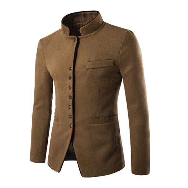 Tangku 2018 autumn winter men casual suit men Stand collar Worsted Fabric pocket Button decorate men's Leisure suit coat