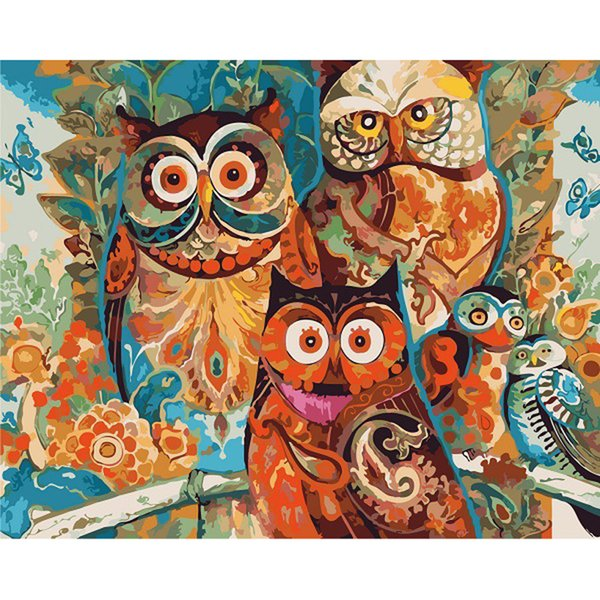 New cute owl DIY hand-painted animal decorative painting for indoor home decoration digital painting on the wall