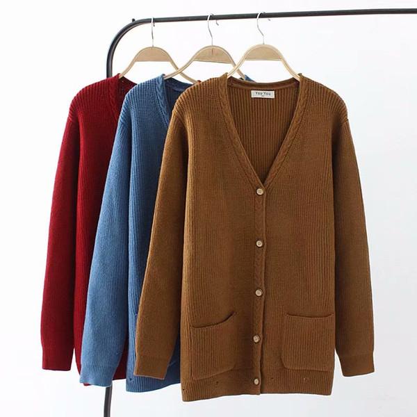 Oversized Plus Size Knitted Wool Women Cardigan Coat 2018 Autumn Color Ladies Sweater Female Knitwear Coat 4XL